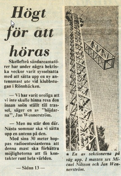 Picture of our tower in a newspaper 1978
